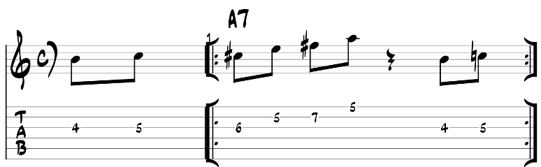 Major blues scale guitar lick exercise with tab 8