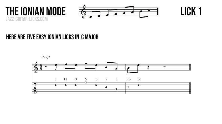 Major guitar lick1