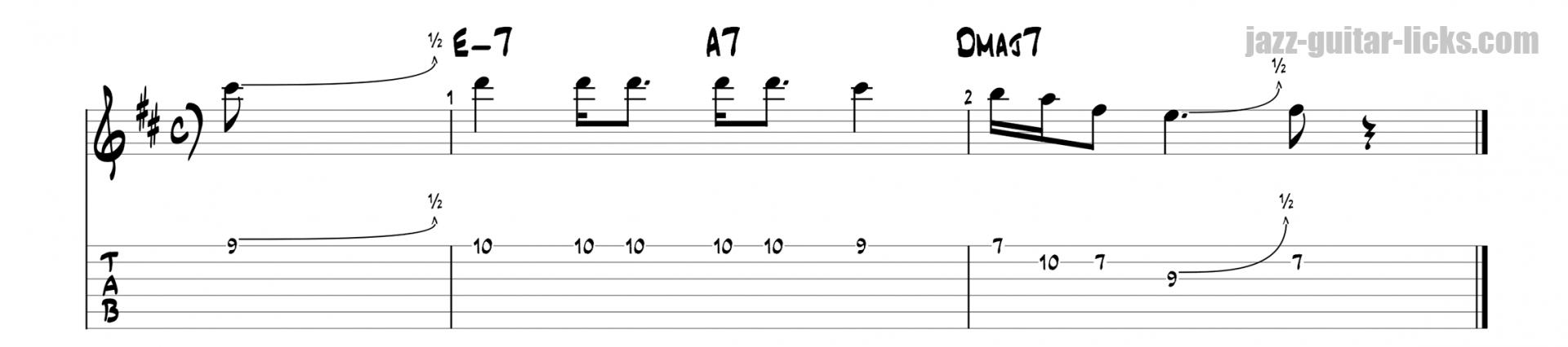 Miles davis guitar phrase with tabs