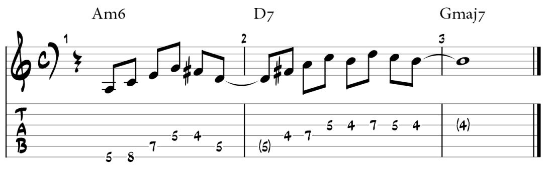 Minor 6 pentatonic guitar lick