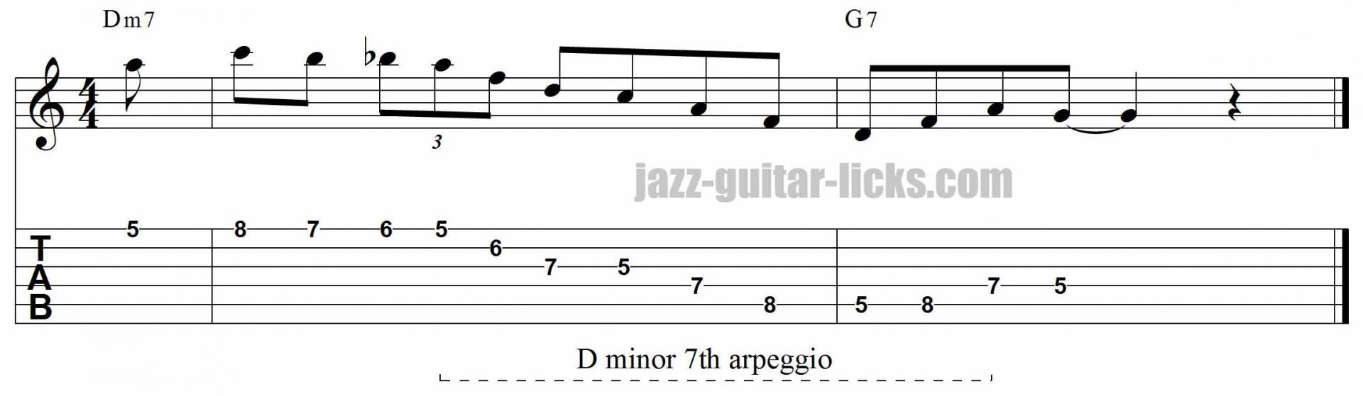 Minor 7th arpeggio jazz guitar lick 1