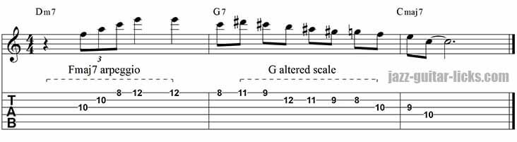 Minor 9th arpeggio lick - II-V-I progression