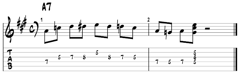 Minor blues scale and dom7 chord guitar tab 1