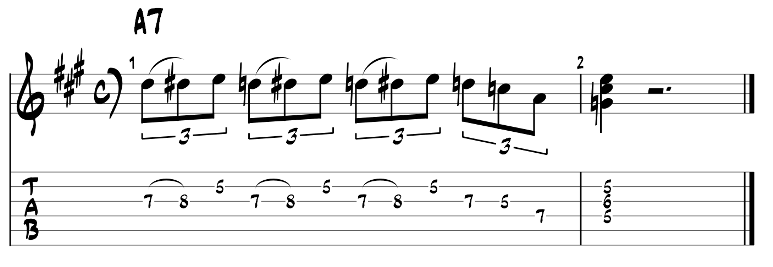 Minor blues scale and dom7 chord guitar tab 2
