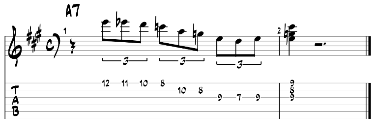 Minor blues scale and dom7 chord guitar tab 3