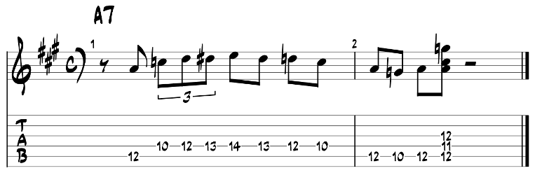 Minor blues scale and dom7 chord guitar tab 4