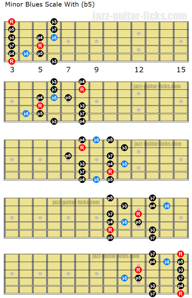 Minor blues scale with b5 for guitar