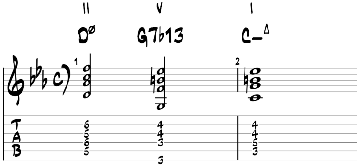 Minor ii v i guitar chords 2