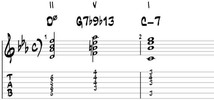 Minor ii v i guitar chords 3