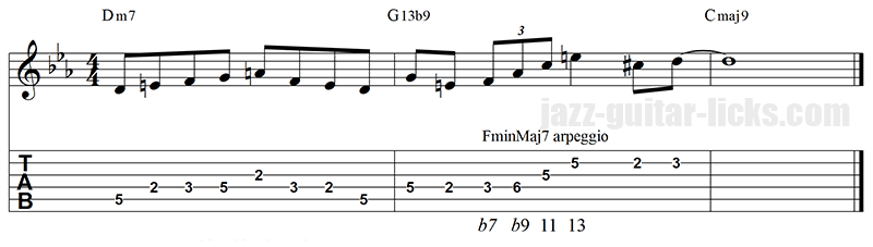 Minor major 7 arpeggio altered lick