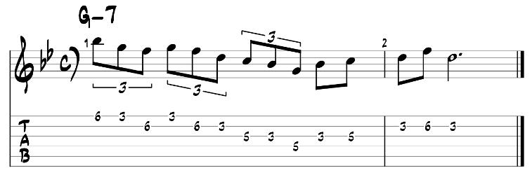 Minor pentatonic scale guitar pattern 2