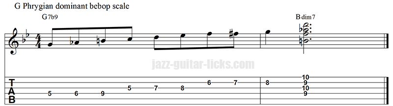 Phrygian dominant bebop scale and diminished 7 chords 2