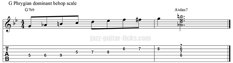 Phrygian dominant bebop scale and diminished 7 chords