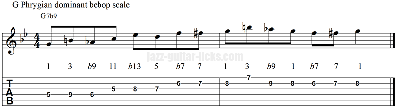Phrygian dominant bebop scale exercise for guitar