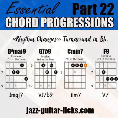 Rhythm changes jazz guitar chord progression with shapes