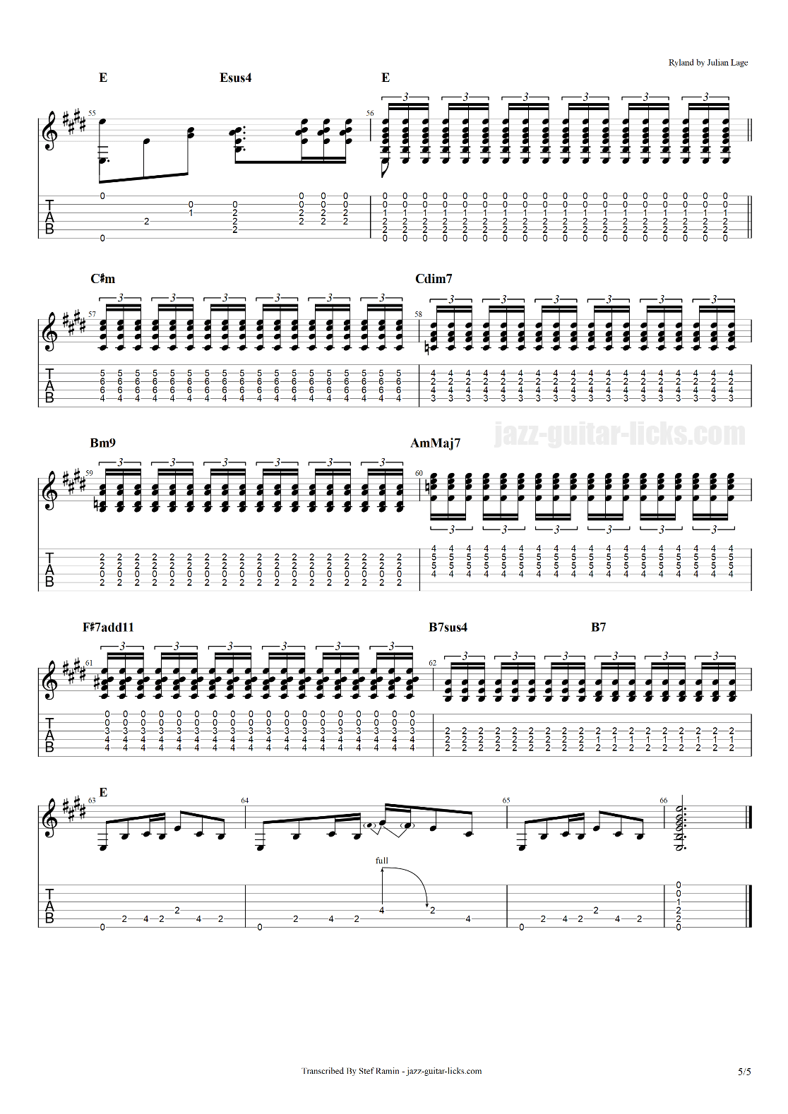 Ryland julian lage guitar transcription with tabs part 5