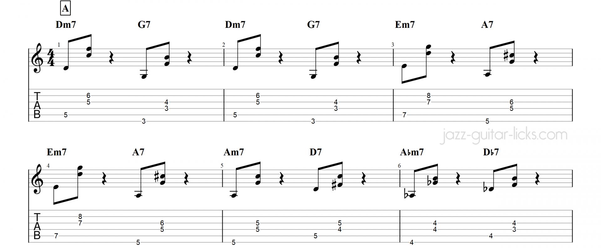 Satin doll basic jazz guitar chords
