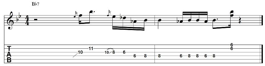Soul jazz guitar minor pentatonic lick