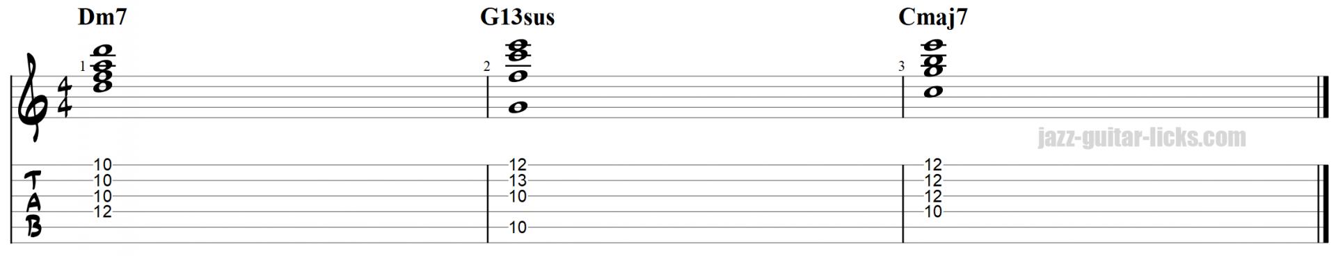 Suspended chords over 2 5 1 progression 3 1