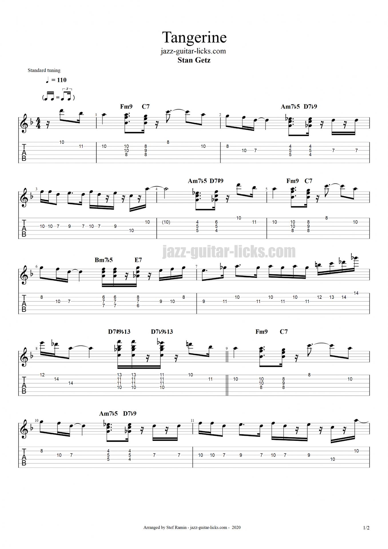 Tangerine stan getz jazz guitar tabs part1
