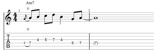 The lick guitar tab with hammer on 2