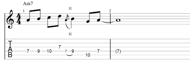 The lick guitar tab with hammer on
