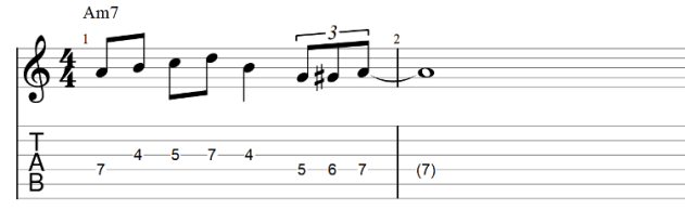 The lick guitar tab with passing tones 2