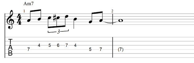 The lick guitar tab with passing tones