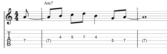 The lick guitar tab with pickup notes