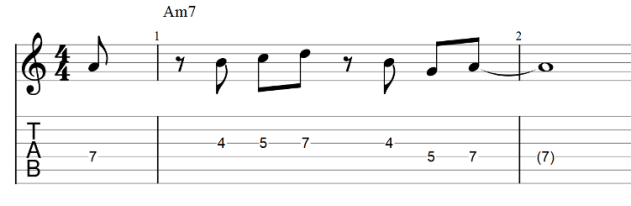 The lick guitar tab with rhythmic variations 2