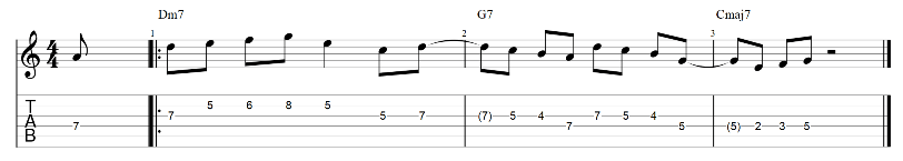 The lick over major 2 5 1 guitar tabs