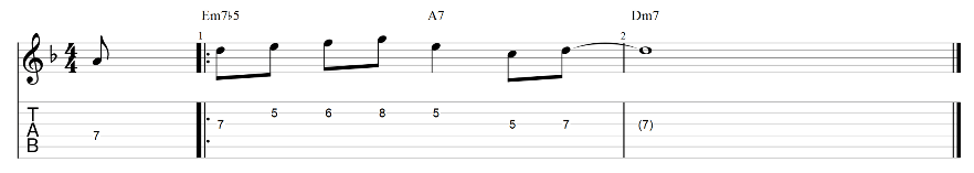 The lick over minor 2 5 1 progression