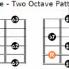 The whole tone scale two octave positions for guitar