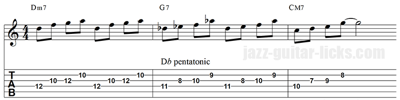 Tritone substitution guitar lick