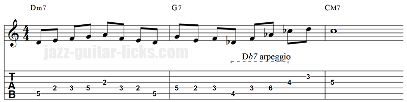 Tritone substitution guitar line