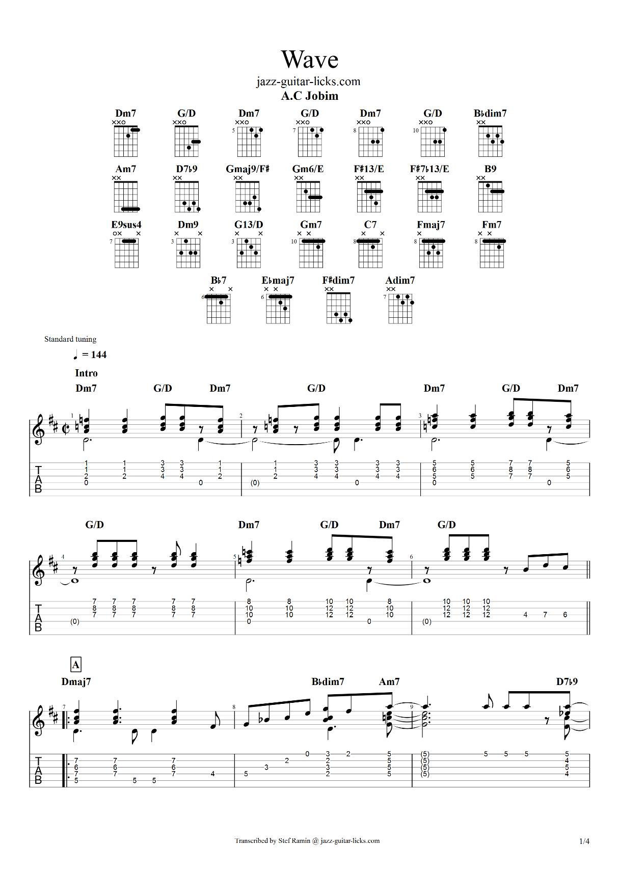 Wave a c jobim guitar tabs 1