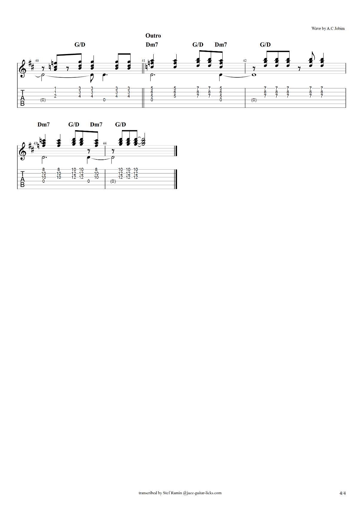 Wave a c jobim guitar tabs 4