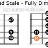Whole half fully diminished scale two octave shapes